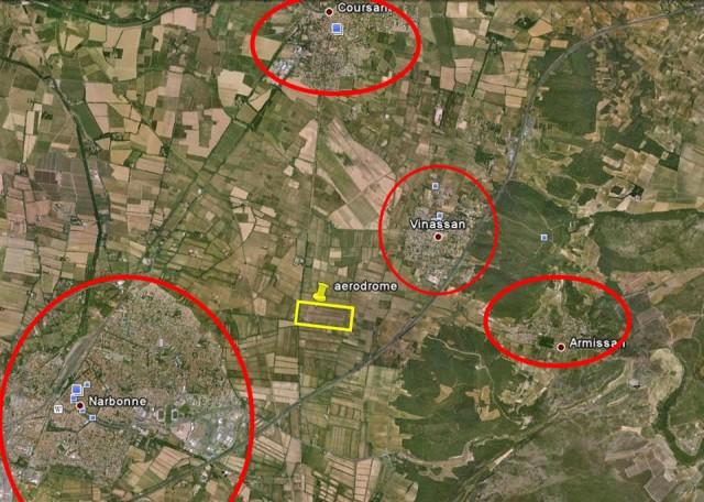 Aérodrome de Narbonne - Vue satellite